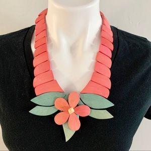 Vintage Pink Flower Wood Beaded Boho Necklace